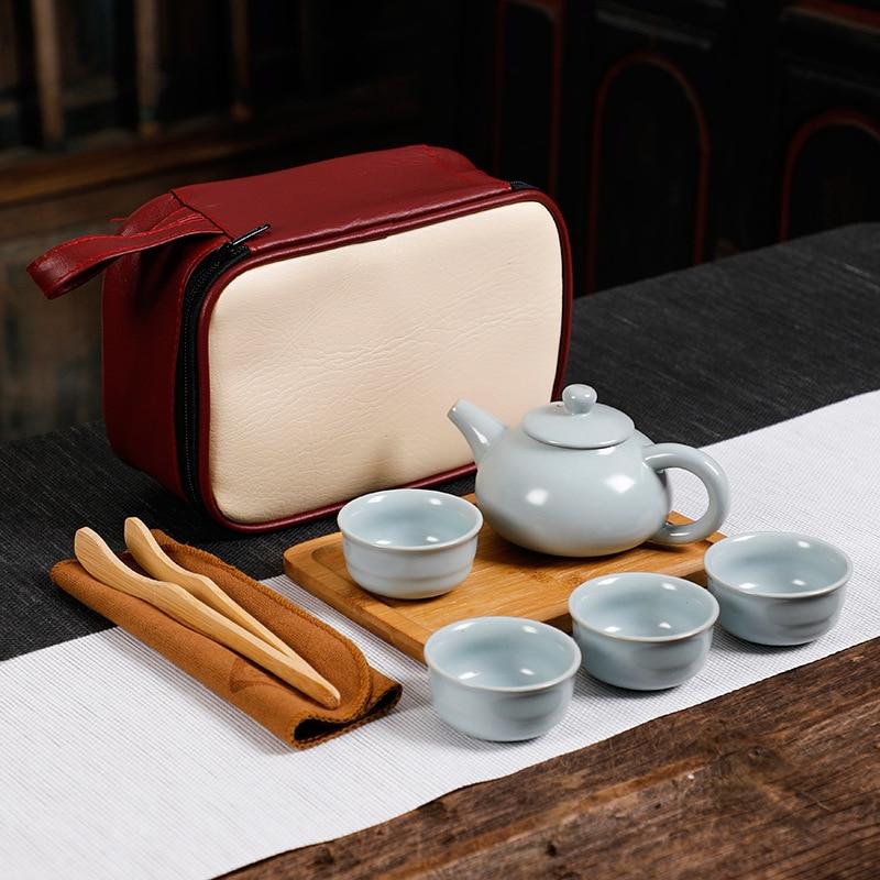 Conjunto de utensílios de chá de cerâmica portátil conjunto de chá chinês kung fu bule viajante teaware com saco conjunto de chá gaiwan xícaras de chá de cerimônia de chá|Jogos de chá| |  - title=