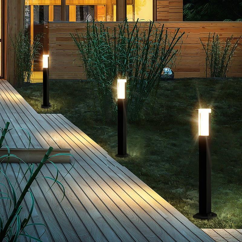 LTOON Outdoor Waterproof LED Garden Lawn Lamp Modern Aluminum Column Headlight Outdoor Garden Villa Landscape Lawn Lamppost Lamp