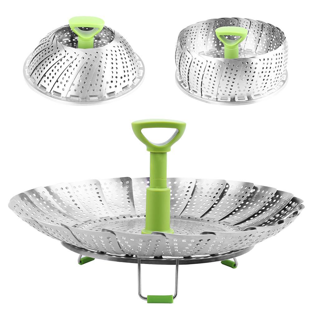 9in Steamer Cookware Steaming Food Basket Mesh Stainless Steamer Folding Food Fruit VegetableFish Vapor Basket Bowl Kitchen Tool