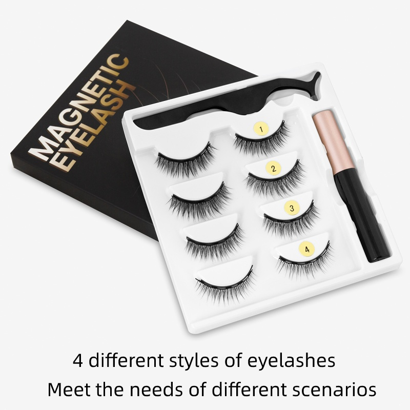 Magnetic Eyelashes 3D Mink Eyelashes Magnetic Eyeliner Magnetic Lashes Short False Lashes Lasting Handmade Eyelash Makeup Tool 3