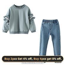 Orso Leader Adolescenti Vestiti Delle Ragazze dei Vestiti 2020 dei Bambini Top e Pantaloni di Demin Adolescente Set Abbigliamento Scherza I Vestiti Per 4 13y