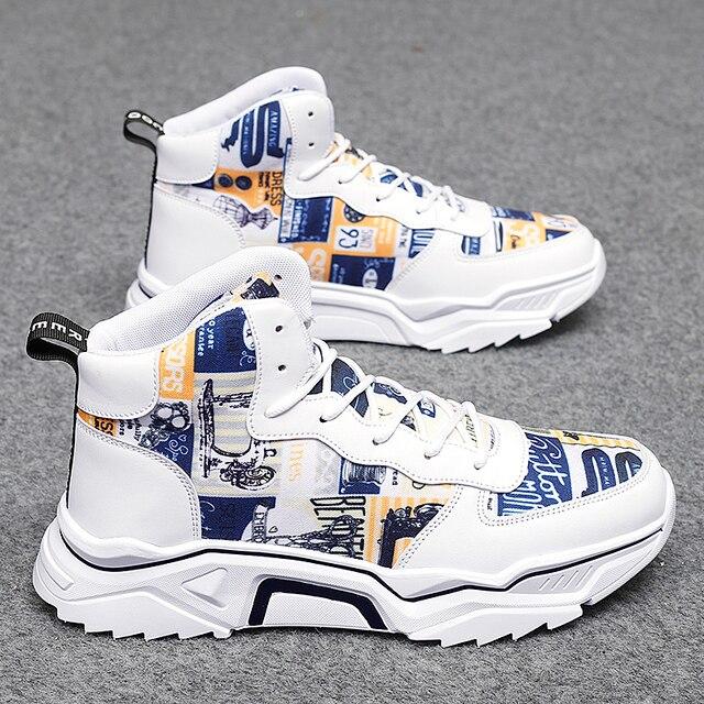 חורף גברים נעליים גבוהה למעלה גברים של נעליים יומיומיות לבן חם מקרית בד shoeshoes גובה הגדלת ללבוש עמיד עור