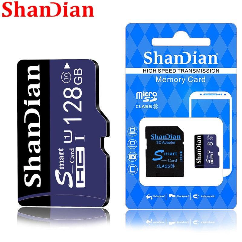 SHANDIAN Smast SD Card 128gb Memory Card High Speed Class 10 64gb 32gb Mini TF Card For Phones Cameras Free Shipping