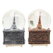 Vintage Paris Tower bola de cristal decoración para el hogar viejo arte figuras copo de nieve giratorio caja de música adornos amor regalo escritorio Decoración