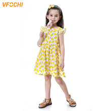 VFOCHI 2019 Girl Dresses Summer Girls Clothes Lemon Print Baby Kids for 2-10Y Ruffles Sleeve Casual