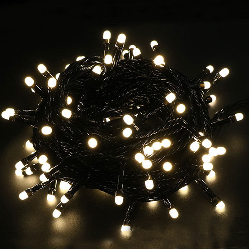 Big-bead Waterproof Black Wire LED Christmas Fairy string lights AC220V garland for Wedding Xmas Holiday outdoor Decoration