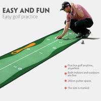 Estera para golpear Golf interior, 300x50cm, almohadilla de práctica de Golf, Putter de Golf verde, entrenador Fairway, línea de puntería, ranura en T