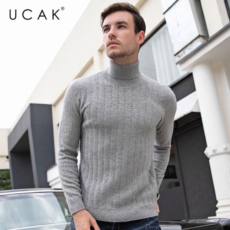 UCAK Brand Sweater Male 2019 Thick Warm Turtleneck Pure Merino Wool Casual Striped Pull Homme Cashmere Fashion Sweaters U3095