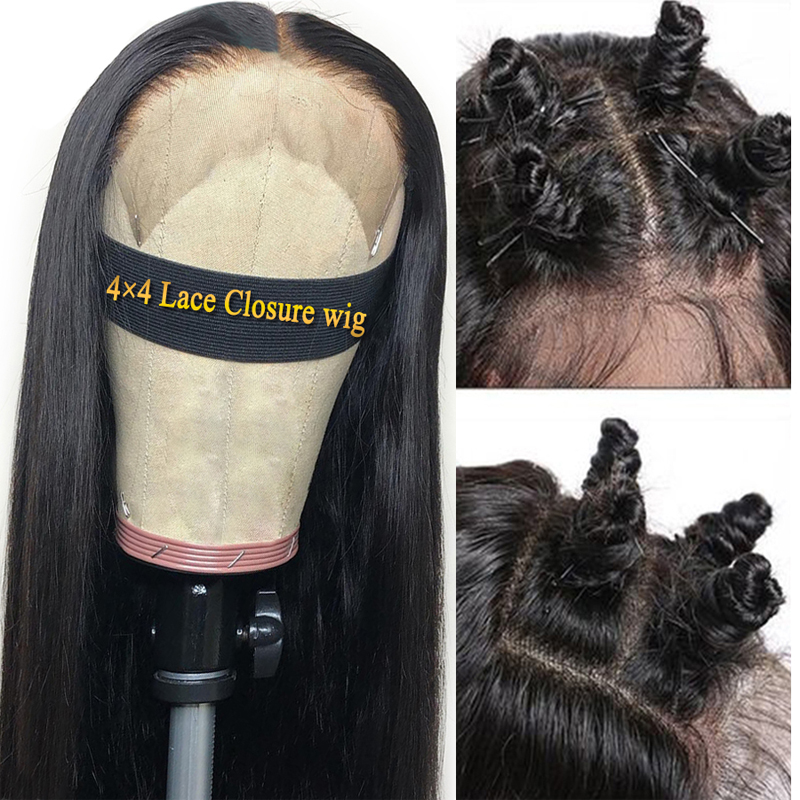 Closure Wig Human Hair Wigs Lace Closure Wig Human Hair Wig For Black Women 4×4 Brazilian Hair Wigs Non Remy Straight Hair