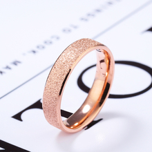 Full matte rhinestone 4mm ring stainless steel rose gold simple female commemorative day jewelry VR645