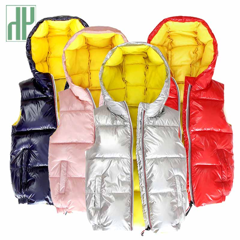 HH sleeveless jacket for kids vest waistcoat Coats gold silver Toddler girl hooded winter autumn baby boy Outerwear