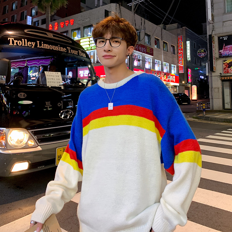 Winter Sweater Men Warm Fashion Contrast Casual O-Neck Knit Pullover Man Streetwear Loose Long Sleeve Sweater Male Clothes M-5XL