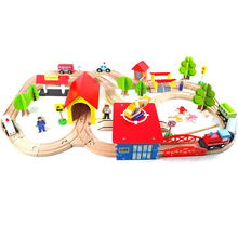 69PCS DIY Track Train Set Toy Railway  Wood Puzzles educational Toys for Kids track toy toys children