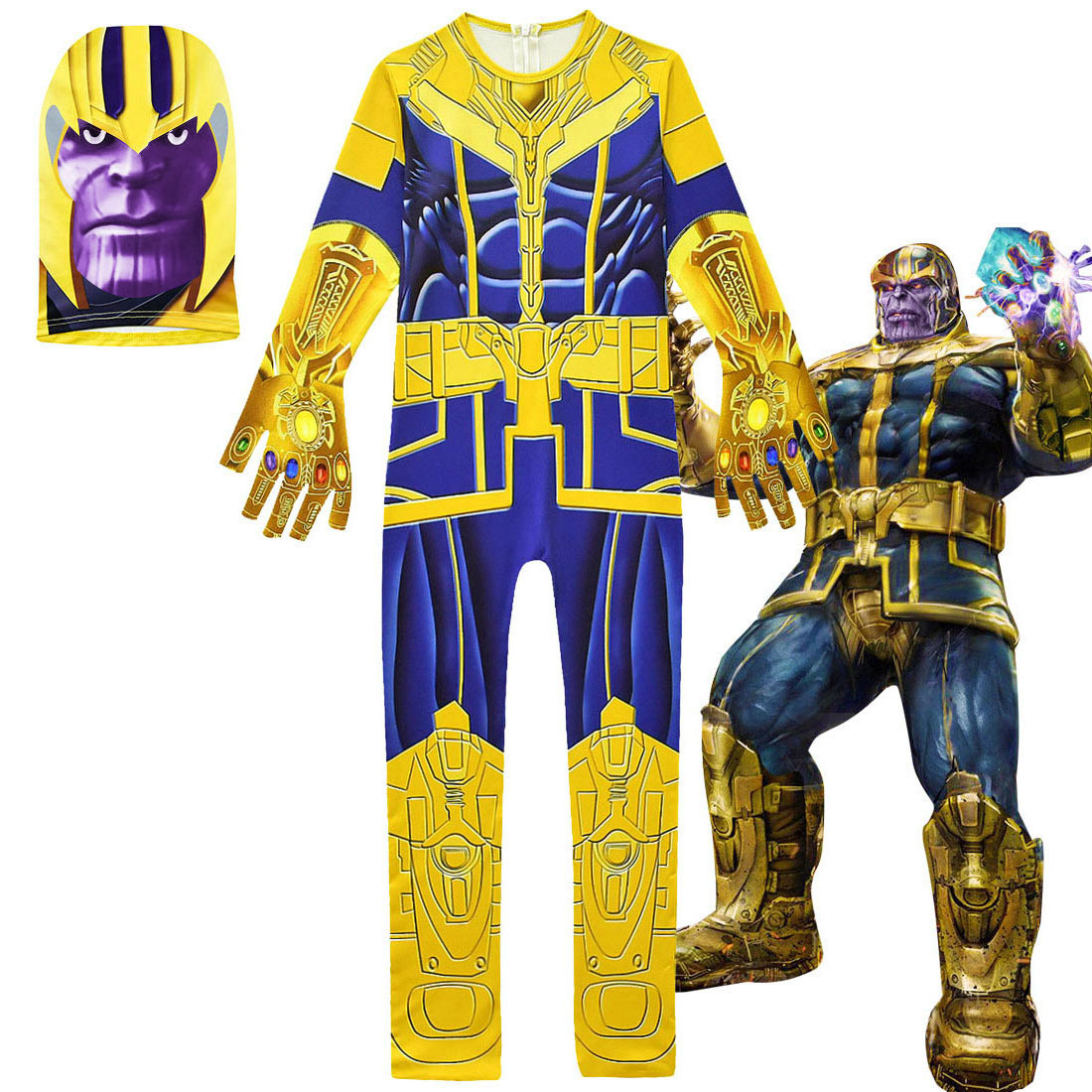 Boys Halloween Party Thanos Kids Cosplay Costume Avengerss Thanos Costumes Kids Jumpsuits Mask Glove Carnival  Cosplay Costume