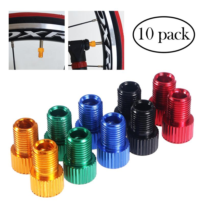 10 Pcs Aluminum Bicycle Bike Valve PRESTA To SCHRADER Converter Car Valve Adapter Bicycle Bike Tube Pump Air Compressor Tools