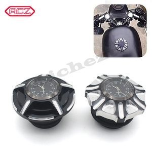 Image 1 - CNC Aluminum Motorcycle Fuel Gas Tank with Clock for Harley Davidson Sportster XL 1200 883 X48 Dyna Decorative Oil Cap