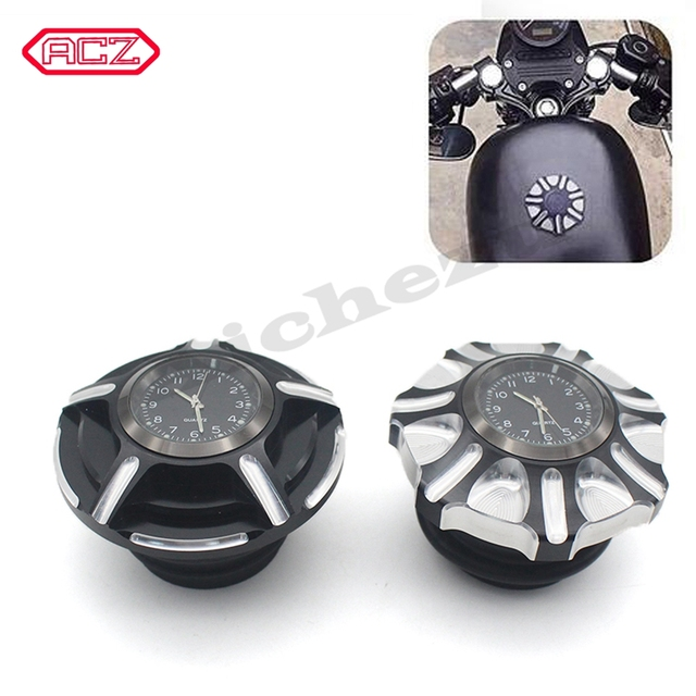 CNC Aluminum Motorcycle Fuel Gas Tank with Clock for Harley Davidson Sportster XL 1200 883 X48 Dyna Decorative Oil Cap