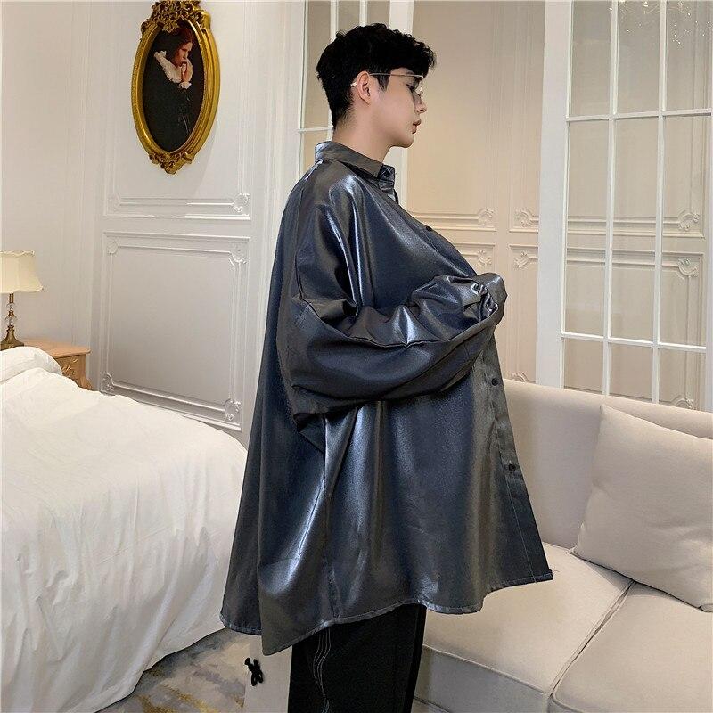 Image 3 - Осенняя Модная шелковая мужская рубашка с длинными рукавами винтажная негабаритная Блузка мужская хип хоп готическое панк блестящее платье рубашкиПовседневные рубашки   -