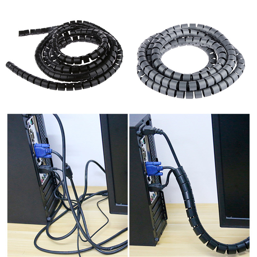 Cable Hide Wrap Tube 10//25mm Organizer Band Management Wire Spiral Flexible Cord