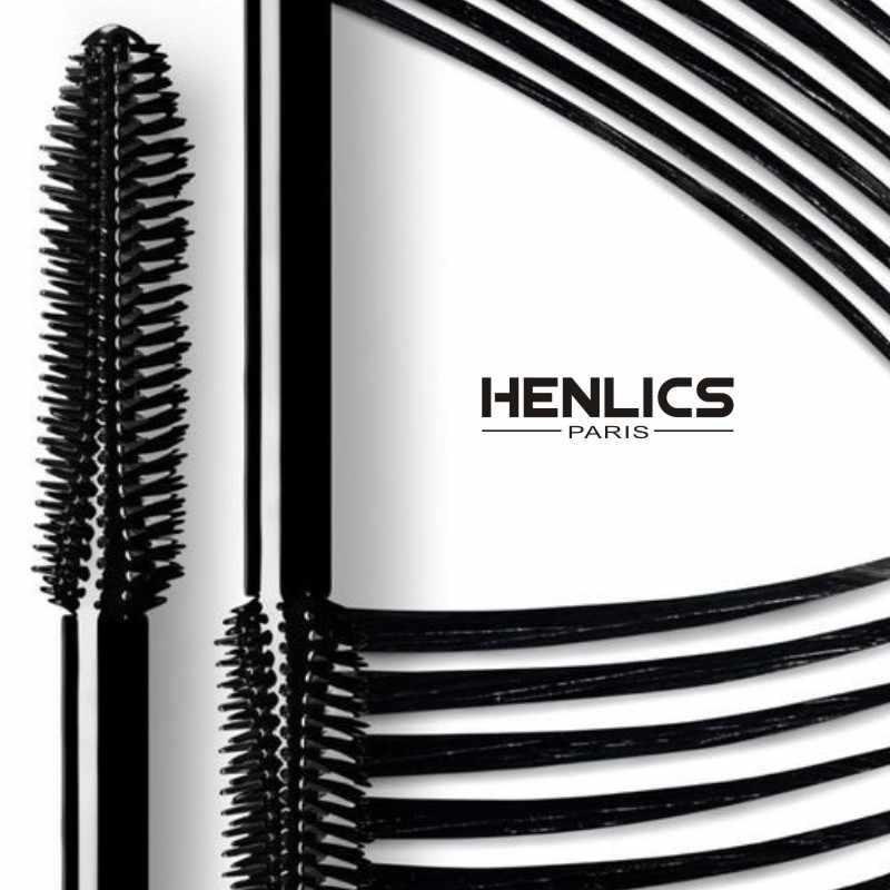 HENLICS ماسكارا مقاوم للماء 4D ألياف الحرير الشباك رموش تكثيف تمديد سميكة إطالة 300 درجة قابل للتعديل فرشاة ريميل