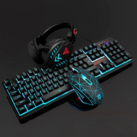 4Pcs Illuminated Gaming Mouse Pad Accessories Home Mechanical Wired USB Keyboard Set Computer Desktop Backlight Headset