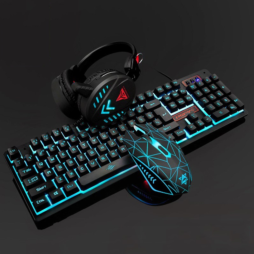 4Pcs Illuminated <font><b>Gaming</b></font> Mouse Pad Accessories Home Mechanical Wired USB Keyboard Set Computer Desktop Backlight Headset