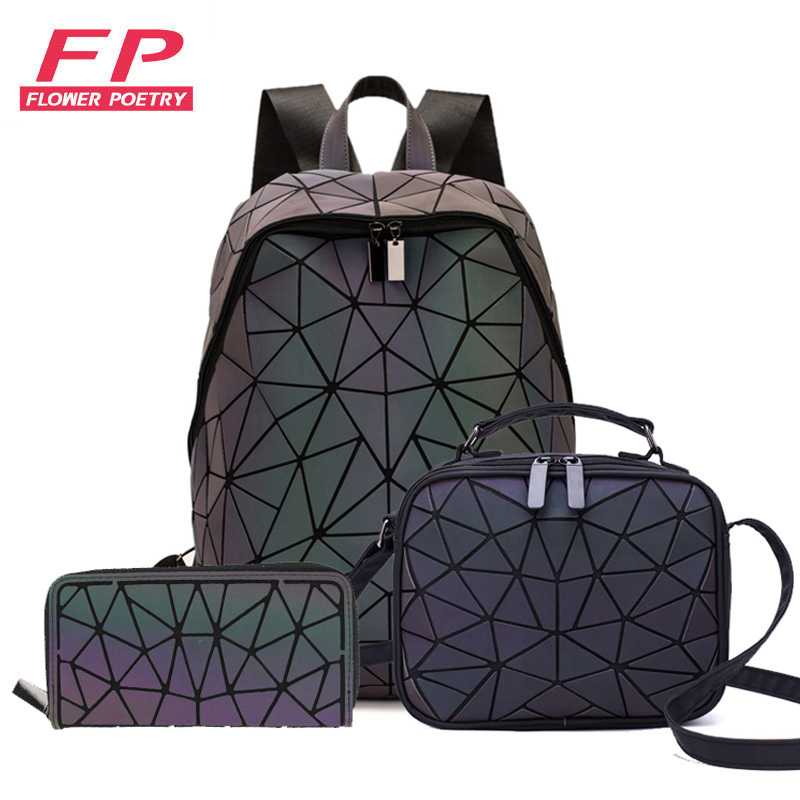 2020 New Luminous Backpack School Women Men Set Rucksack Female Lattice Backbag Holographic Shoulder Bags Purse Mochila Sac