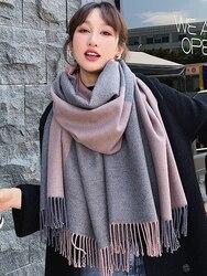 Женский зимний шарф, универсальный, для отдыха, студентов, корейский стиль, в клетку, шаль, для женщин, двойного назначения, длинный, утолщенн...
