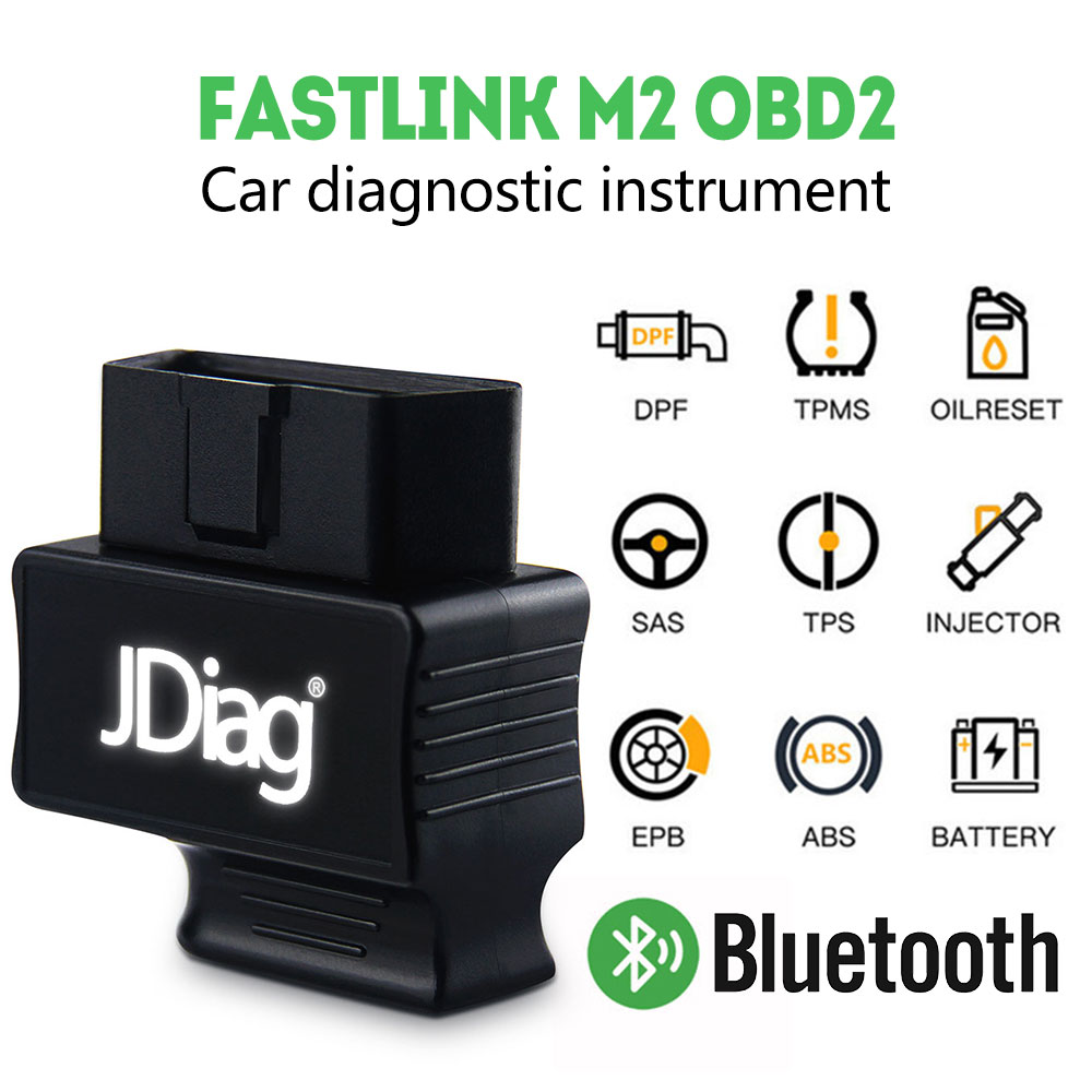 JDiag OBD2 Scanner Detector Code Reader Diagnostic Bluetooth Faslink M2 Autos Adapter OBD2 Diagnostic Tool For Android IOS