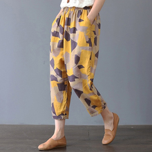 Women Harem Pants 2019 Autumn Print Trousers Casual Loose Ankle-Length Pants Fashion Vintage Elastic Waist Harem Pants cheap Albeey COTTON Polyester Pleated Pockets Broadcloth M L XL 2XL 3XL Geometric Floral Loose Pants for Women Elastic Waist Pants