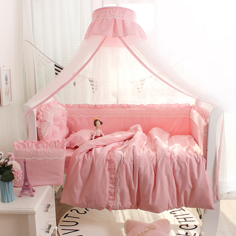 Baby Crib Around Protector Craddle Lace Bumper Princess Style Solid Color Cotton Bed Sheet Bedclothes Four Seasons Universal