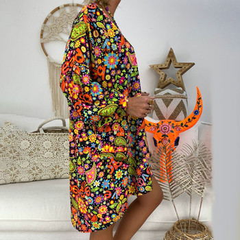 5XL Plus Size Dress women Loose Print Short Sleeve Mini Sundress Summer Dress Ruffle Boho Floral Print Vestidos Femme 2