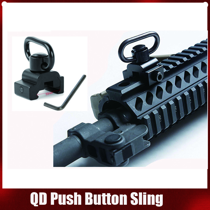 M4 M16 AR-15 Airgun Accessories Push Button Sling Swivel Adapter Set Picatinny Rail Mount Base 20mm Connecting Sling Ring image