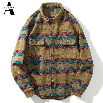 Men Autumn Winter Warm Wool Flannel Shirt Mens Long Sleeve Streetwear Velvet Silk Plaid Vintage Striped Fashions Casual Shirts