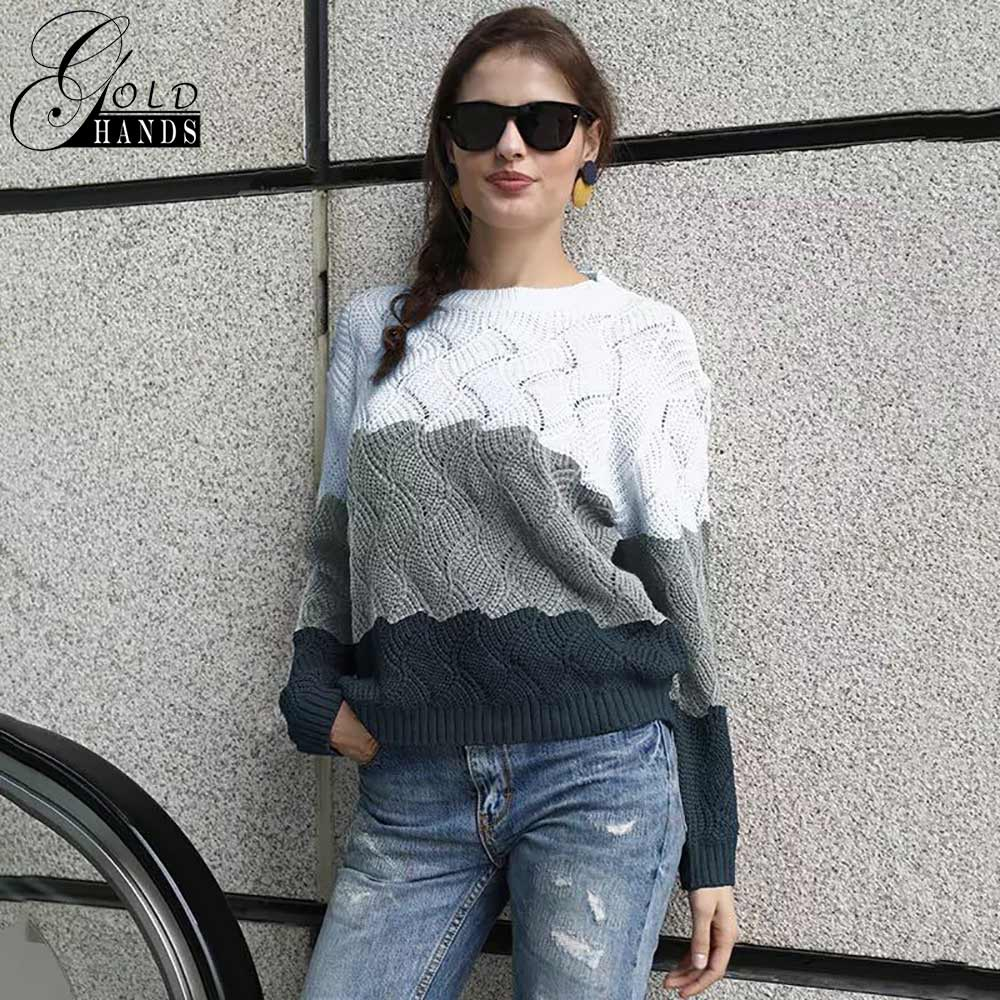 Image 3 - Gold Hands New Women Vintage Splice Autumn Ladies Pullover Jumper  Winter Long Sleeve Crewneck Knitted Pullover Sweater Free  ShipPullovers