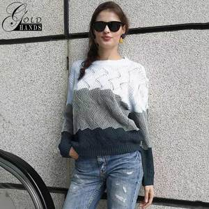 Image 3 - Gold Hands New Women Vintage Splice Autumn Ladies Pullover Jumper Winter Long Sleeve Crewneck Knitted Pullover Sweater Free Ship