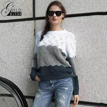 Gold Hands New Women Vintage Splice Autumn Ladies Pullover Jumper Winter Long Sleeve Crewneck Knitted Pullover Sweater Free Ship 4