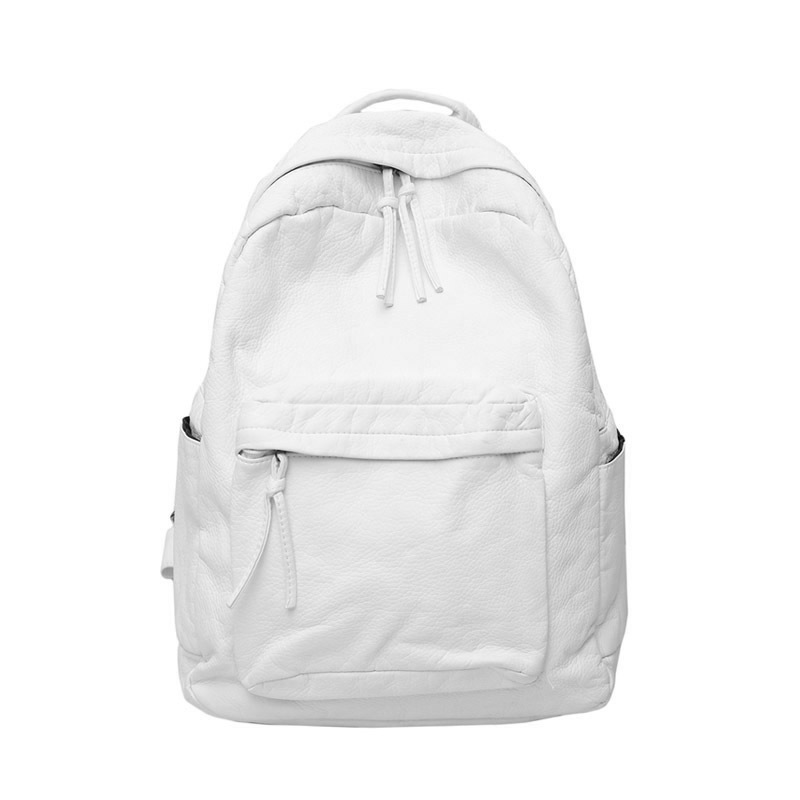 Texture PU Water-washed Bi-Shoulder Bag Female New Soft-leather White Backpack for Autumn