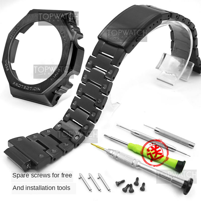 For GA2100 Watch Band Strap Bezel/Case 316L Stainless Steel Metal Steel Belt With Tools Wholesale Watchband GA-2100 GA2110-2