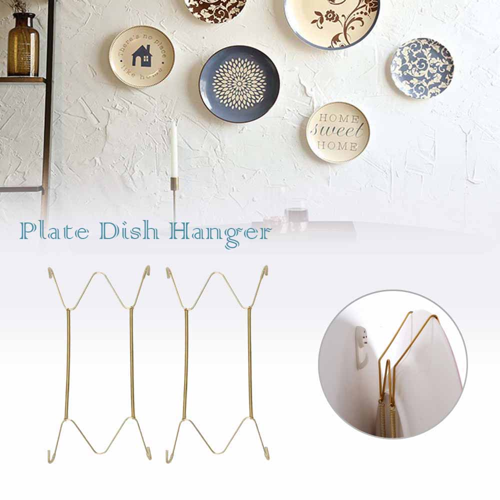 Wall Display Plates Hanger W Type Decoration Crafts Dish Spring Holder Invisible Hook Home Decor 6/7/8/10/12/14/16 Inch