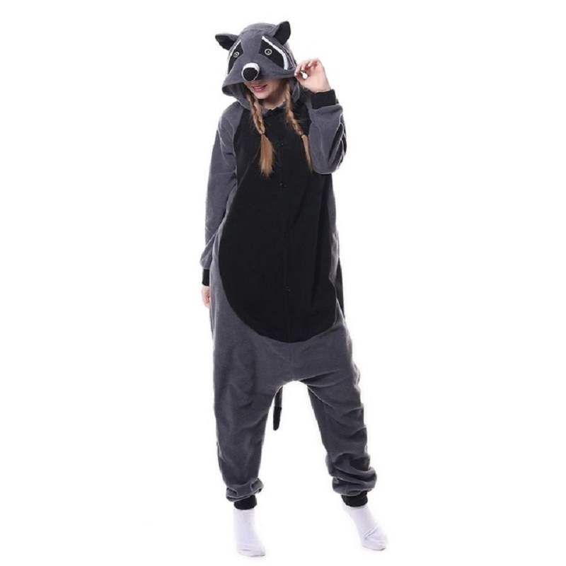 Kigurumi Women Pajama Cartoon Animal Raccoon Pajamas Homewear Fleece Flannel Couples For Pajamas Halloween Cosplay Jumpsuit S-XL