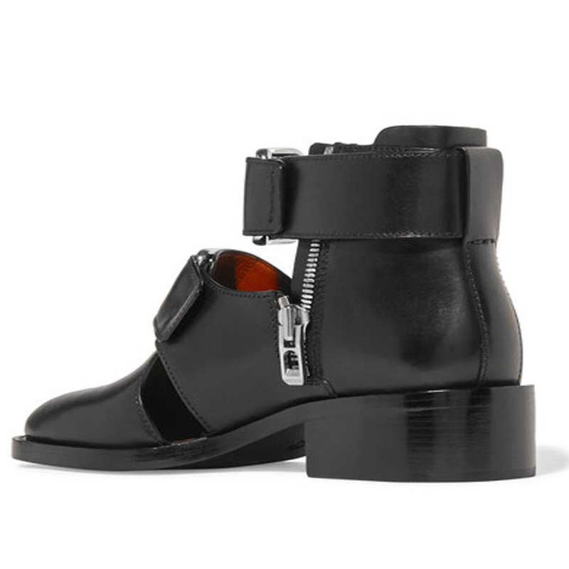 Summer Hollow Shoes Men Personality Italian Leather Gladiator Sandals Designer Runway Buckle Zip Ankle Dress Boots Sandalias