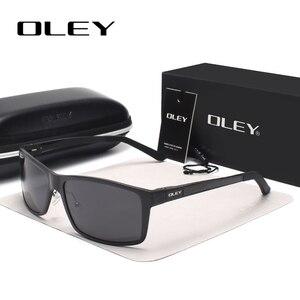 Image 2 - OLEY الرجال الاستقطاب النظارات الشمسية الألومنيوم المغنيسيوم نظارات شمسية نظارات للقيادة مستطيل ظلال للرجال Oculos masculino الذكور