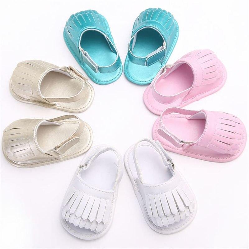 Baby Infant Sandals Girl Cotton Soft Anti-Slip Sole Fringe  Light Summer Prewalkers Newborn Crib Shoes 7-colors