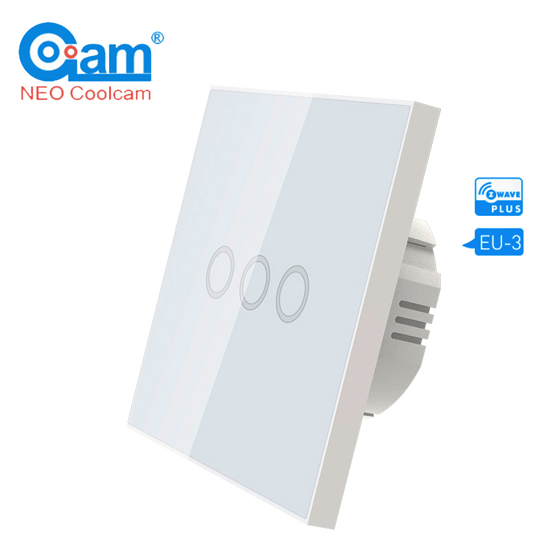 NEO COOLCAM Z-wave Plus 3CH EU 868.4MHZ Wall Light Switch 3 Gang Home Automation Wall Light Switch Touch Control Remote Control