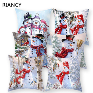 Snowman Christmas Cushion Cover Polyester Decorative Throw Pillow New Year Xmas Decor Sofa Living Room Home Decoration 41008