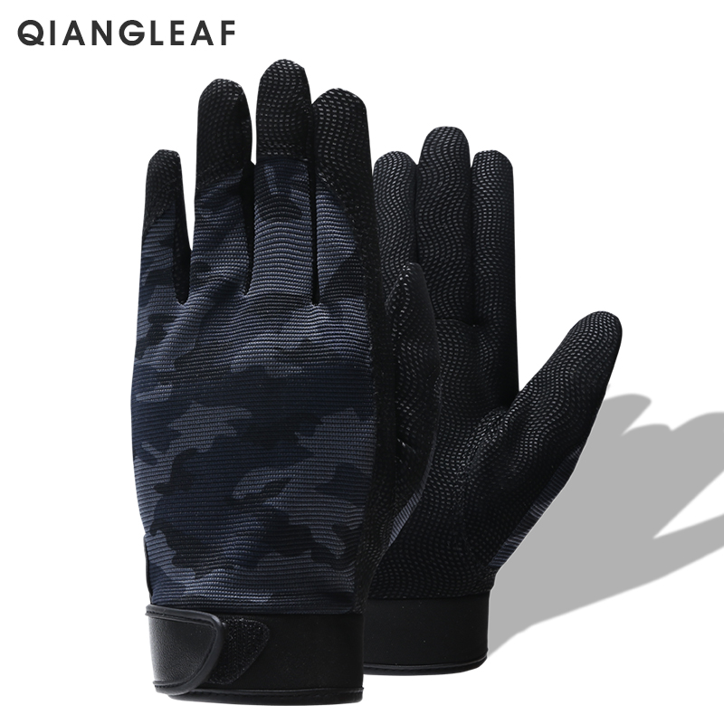 QIANGLEAF Tactical Pu Work Gloves Anti-Slip Hunting Camping Cycling Camouflage Outdoor Sport Fishing Safety Cycling Glove 2500MC