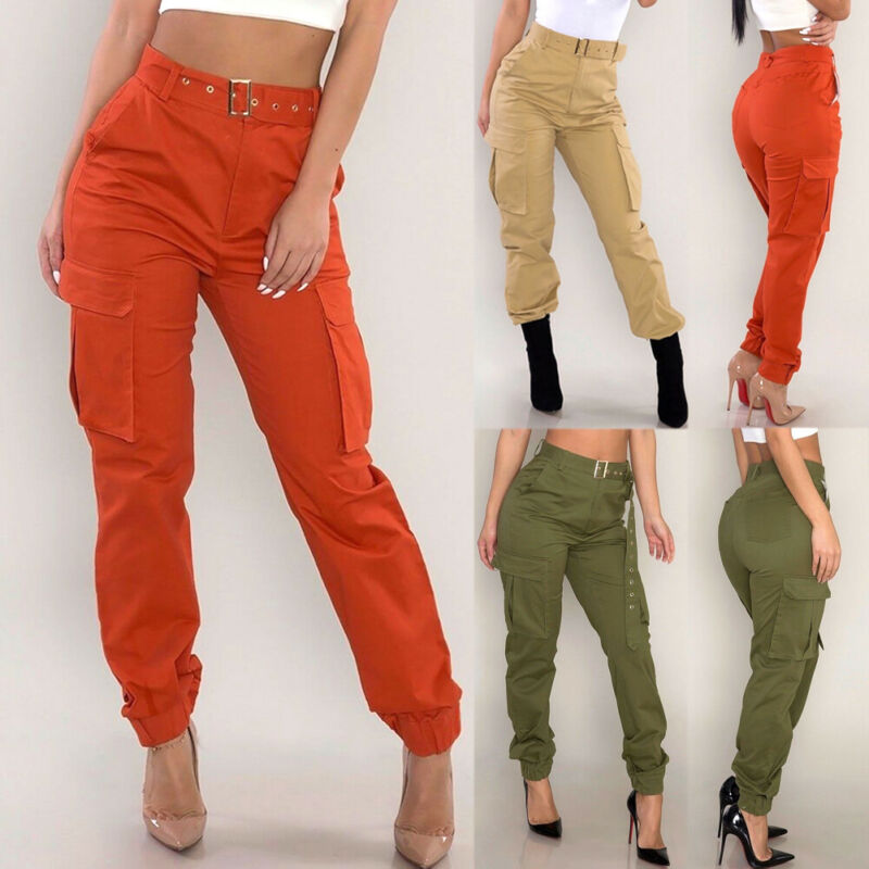 Women Camo Trousers Casual Military Army Green Long Cargo Pants Ladies Trousers Combat Cool Pants Sheer Khaki Orange With Sashes