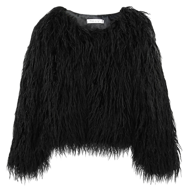Stylish Bar Furry Fur Pullover Coat Women Fluffy Warm Long Sleeve Outerwear Autumn Winter Coats Jacket Hairy V Neck Overcoat