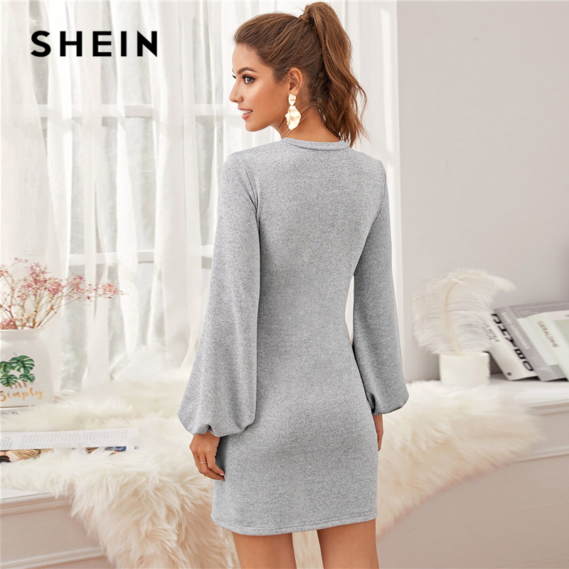 SHEIN Grey Bishop Sleeve Knot Front Sweater Cute Dress Women Winter Spring O-neck Solid Straight Casual Short Dresses 2